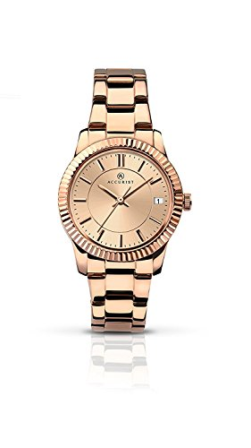 Accurist Ladies Rose Gold Stainless Steel Bracelet Watch with Rose Gold Dial 8013.01