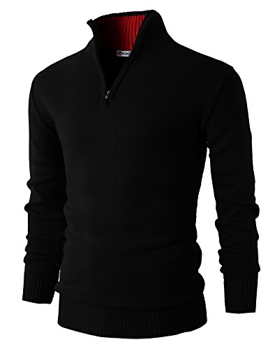 - H2H Mens Casual Basic Pullover Sweater of Neck Zipper Black US M/Asia L (KMOSWL021)