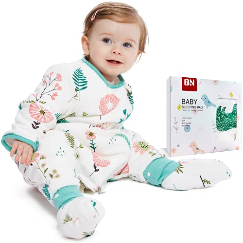 BN Breathable Cotton Baby Wearable Blanket Long Sleeve Sleep Sack with Feet, Lightweight Toddler Sleep Sack 6-12 Months 2-Way Zipper (S, Polar Bear, 1.0Tog)