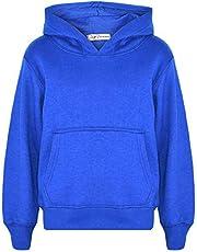 Kids Girls Boys Sweatshirt Tops Plain Royal Blue Hooded Jumpers Hoodies 2-13 Yr