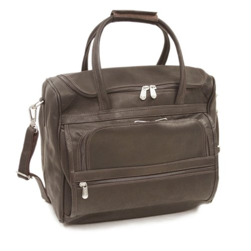 Piel Leather Small Computer Carry-All Bag, Chocolate, One Size