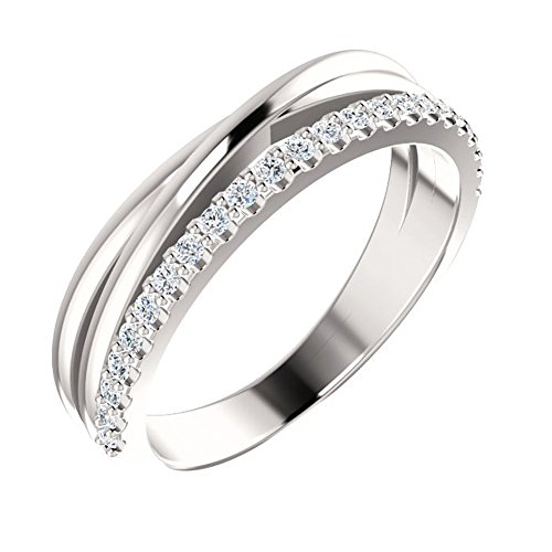 0.55 ct Ladies Round Cut Diamond Wedding Criss Cross Band in Platinum