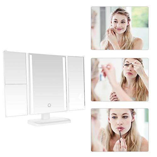 Tri-Fold Makeup Mirror, Bathroom mirror with light, makeup mirror ultra high definition professional touch mirror cosmetic folding mirrors perfect gift for women ()