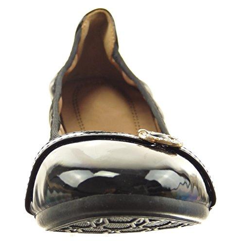 Sopily - damen Mode Schuhe Ballerina Flexible Schmuck Patent Strass - Schwarz