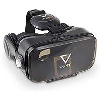 VRIT Zestaw słuchawkowy VR + przewodnik po rzeczywistości wirtualnej, okulary 3D, nasze słuchawki pasują do telefonów…