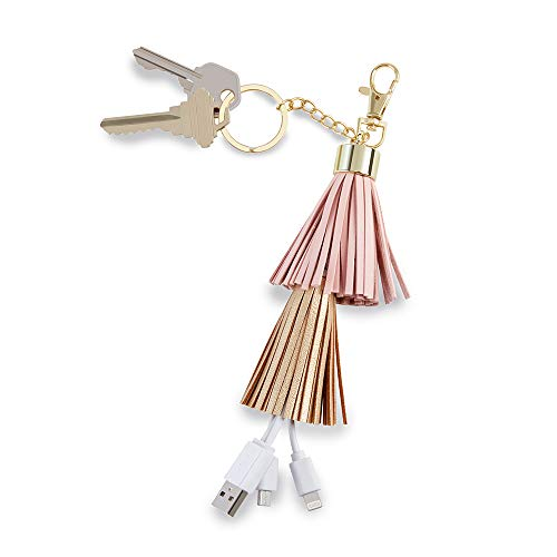 Kate Aspen 11350NA Tassel Charging Cord Keychain-USB-C Lightning Cable Tech Gift/Fashion Accessory, One Size, Multi