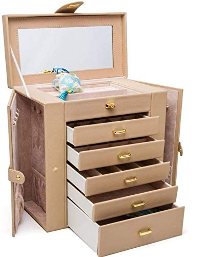 HEZALA Large Jewelry Organizer, 6-Layer Leather Jewelry Box for Women, Watch Necklace Ring Earring Bracelet Jewellery Storage Case with Removable Drawers and Mirror, Ideal Gift for Woman and Girl from HEZALA