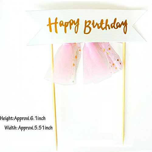 Weisu Happy Birthday Party Supplies Decorations Kit,Include 2 Pcs Glitter Happy Birthday Cake Toppers,36pcs Photo Booth Props ,Unicorn Themed Felt Garland Parties Decor for Girls by Weisu (Image #3)