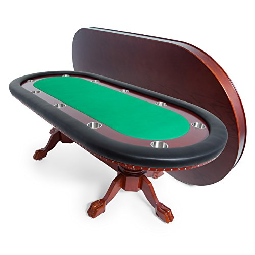 BBO Poker Rockwell Poker Table for 10 Players with Green Felt Playing Surface, 94 x 44-Inch Oval, Includes Matching Dining Top - Dining Room Mahogany Game Table