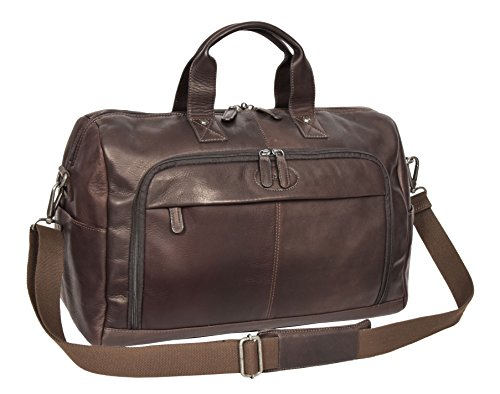 Brown Real Leather Holdall Weekend Bag Business Travel Overnight Gym Bag Manila by A1 FASHION GOODS