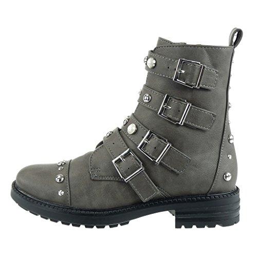 Angkorly - damen Schuhe Stiefeletten - Combat Boots - Biker - Reitstiefel - Kavalier - Nieten - besetzt - Perle - Multi-Zaum Blockabsatz high heel 3.5 CM Grau