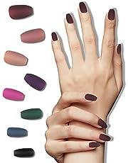 8 Packs (192 Pcs) Acrylic Matte Press on Nails Coffin Medium Short Length, Ballerina Professional Nail Art Tips Sets, False Nails Supplies Solid Color Fake Nails with Adhesive Tabs Nail File for Women