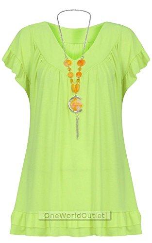 Gypsy vert Femmes Tunique Avec Volant UNI ROYAUME fluorescent 12 Collier 28 ROBwOdq