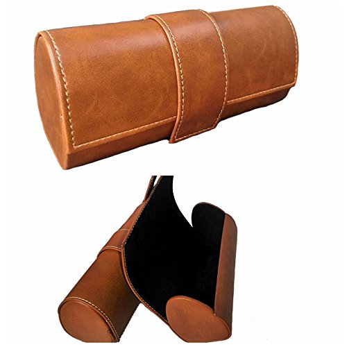 Newest Glasses Case -PU Leather Semi Hard Eyeglass Case - by Eilin (Brown) by Eilin