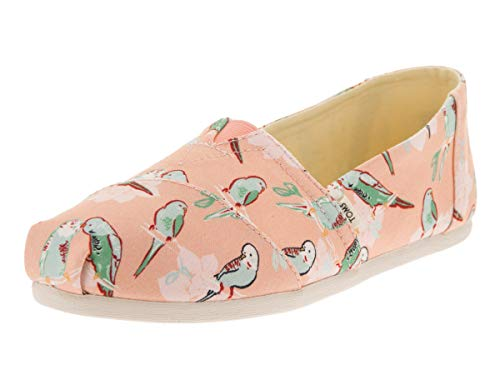 (TOMS Women's Classic Alpargata Coral Pink Kissy Birds Slip-On Shoe 6 Women US)