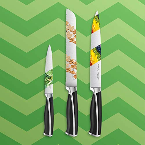 Emojoy Knife Set, 15-Piece Kitchen Knife Set with Block, ABS Handle for Chef Knife Set, German Stainless Steel, by Emojoy (Black) by Emojoy  (Image #3)
