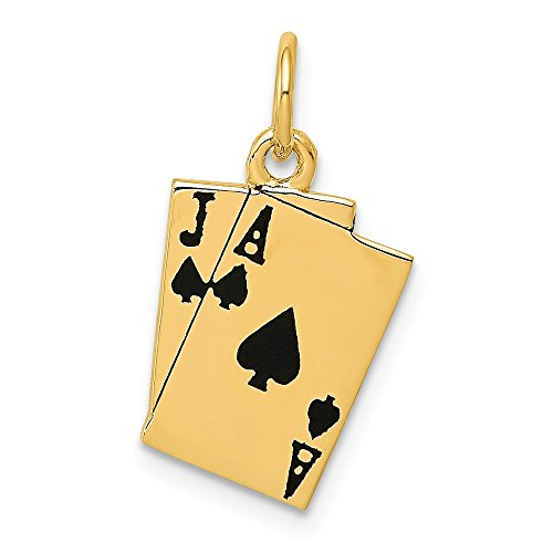 14k Gold Jack - FB Jewels 14K Yellow Gold Enameled Blackjack Yellow Gold Playing Cards Charm