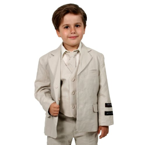 JL5026 NATURAL Cotton/Linen Boys Summer Suit From Baby to Teen (10, Natural) (Summer Linen Suit)