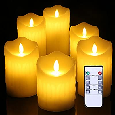 "Flameless Candles Ivory Dripless Real Wax Pillars Include Realistic Dancing Flickering drippling wedding candle LED Flames and 10-key Remote Control 4""5"" 5"" 6"" 7"" 8"" Set of6"