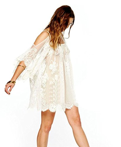 Sexy Lace Dress, Misaky Boho Embroidered Floral Crochet Vintage Hippie Mini Dress (Medium, (Embellished Medium Sleeve)