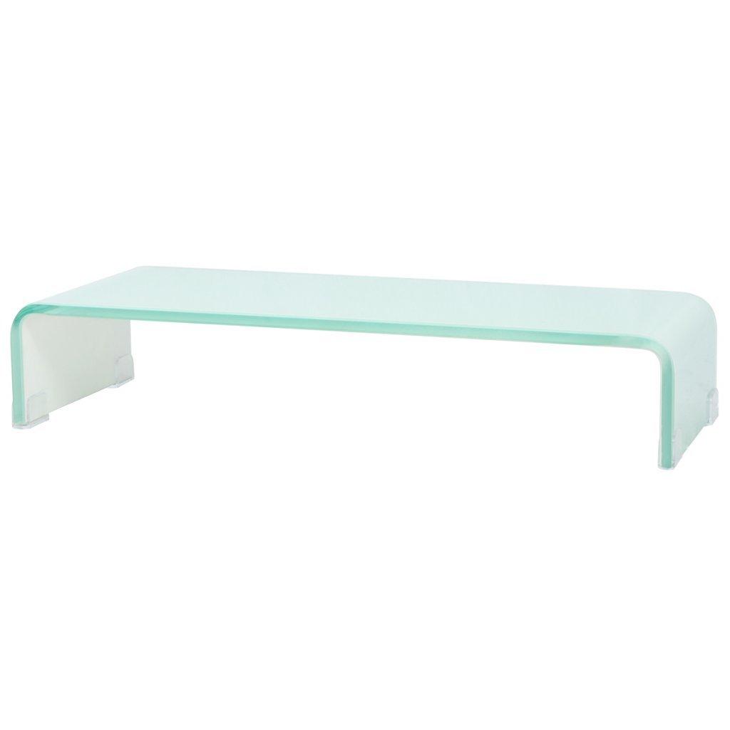 VidaXL TV-Glasaufsatz Tisch Tisch Tisch Monitor Erhöhung Glasbühne Podest Weiß 60x25x11 cm 0f6306