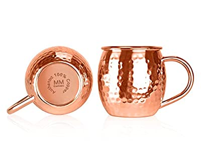 Moscow Mule Copper Mugs - Handcrafted 100% Pure Solid Copper Hammered Finish 16oz Classic Mug - Gift Box for Valentine's Day Set of 2 Cups with Bonus Coasters & Copper Straws - MM Cocktails