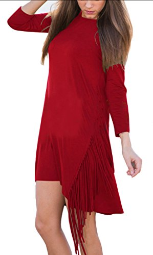 Tassel Dress 3 Womens Jaycargogo Sleeve Sexy Red 4 Fitted Irregular wCOPxqtT
