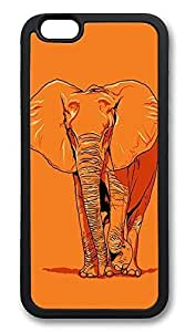 iPhone 6 Cases, Elephant Giant Orange Durable Soft Slim TPU Case Cover for iPhone 6 4.7 inch Screen (Does NOT fit iPhone 5 5S 5C 4 4s or iPhone 6 Plus 5.5 inch screen) - TPU Black