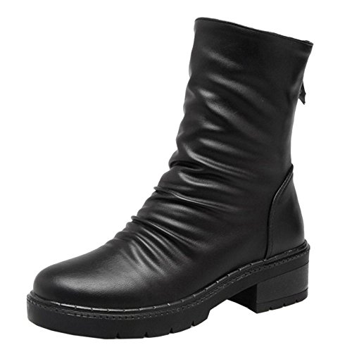 Boots RAZAMAZA Zipper Women Black Solid AWw08qB0g1
