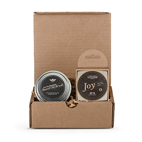 Beard Kit for Men - Joy Peppermint and Clary Sage Aroma  Mens Beard Balm Set Includes The Can You Handlebar Beard Oil Brush (Beard Balm Applicator Brush) and Beard Balm (Dry Oil) | Made in The USA