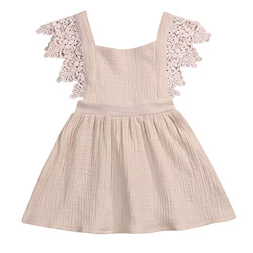 YOUNGER TREE Toddler Baby Girls Summer Cotton Lace Sleeve Princess Overall Dress Backless Sundress (Beige, 6-12 Months)