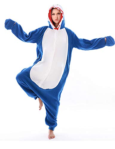 Adult Shark Costume Pajamas Cosplay Animal One Piece Homewear Sleepwear for Women Men Blue -