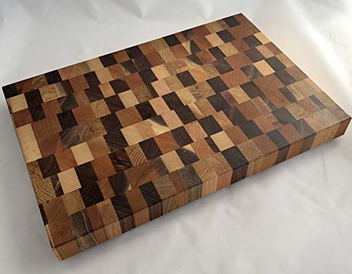 (Cherry Walnut White Oak & Hard Maple End Grain Cutting Board #169 (ready to)