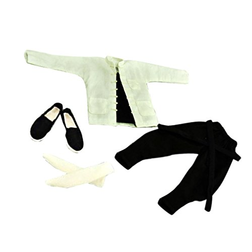 MagiDeal 1/6 White Suit Kung Fu Chinese Costume Clothes Accessories for 12