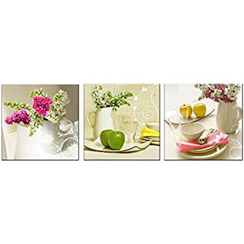 Amoy Art -3 Piece Modern Still Life Flower Canvas Print Giclee Artwork Stretched and Framed Floral Pictures Painting on Canvas Wall Art for Bedroom Kitchen Home Decorations