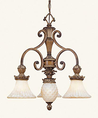 (Livex Lighting 8473-57 Chandelier with Vintage Carved Scavo Glass Shades, Venetian Patina)