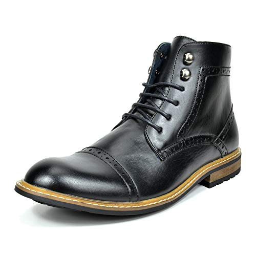 Bruno Marc Men's Dress Ankle Motorcycle Boots Derby Oxfords