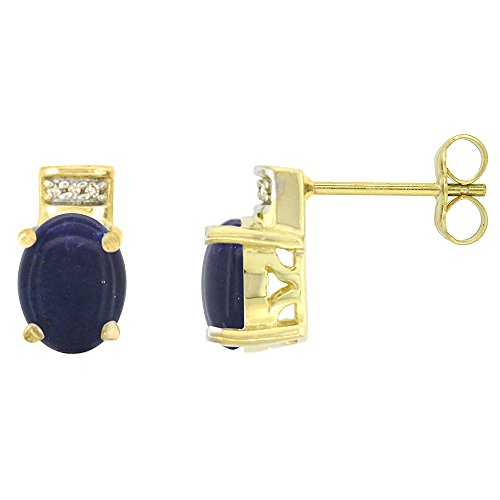 10K Yellow Gold Diamond Natural Lapis Stud Earrings Oval 8x6 (Yellow Gold Genuine Lapis Earring)