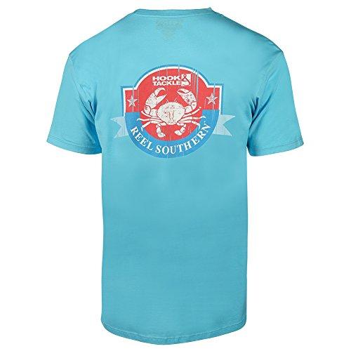 (Hook & Tackle Men's Reel Southern Crab Short Sleeve Shirt Pacific Blue XXLarge)