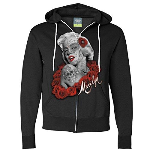 Dia De Los Muertos Marilyn Monroe Zip-Up Hoodie - Black -