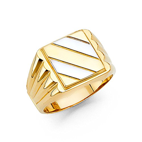Men's 13mm Two Tone 14K Solid Yellow Gold Ring, Size 13