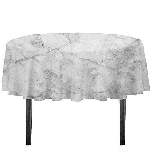 (kangkaishi Marble Leakproof Polyester Tablecloth Fractured Lines Stained Grunge Surface Effects Ceramic Style Background Artful Motif Outdoor and Indoor use D35.4 Inch Grey Dust)