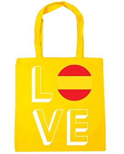HippoWarehouse x38cm Spain Love Bag 42cm litres Yellow Beach Tote 10 Shopping Gym w1rwZxdq85