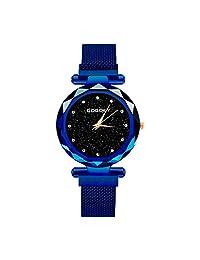 GOGOEY Reloj de Movimiento Análogo, Cuarzo, con Extensible de Metal, Acero Inoxidable (Azul)