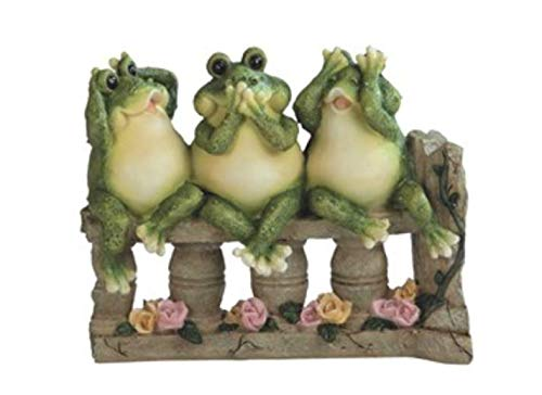"""GSC See/Speak/Hear No Evil Frogs On Bench 7"""" high"""
