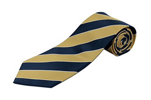 100% Silk Extra Extra Long Tie - Navy and Yellow Stripes Woven Silk (70 Inches Long, Traditional 3.75 Inch ()