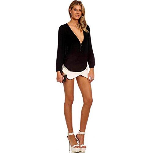 Women Zipper Deep V Neck Chiffon Tops Long Sleeve T-Shirt Blouse