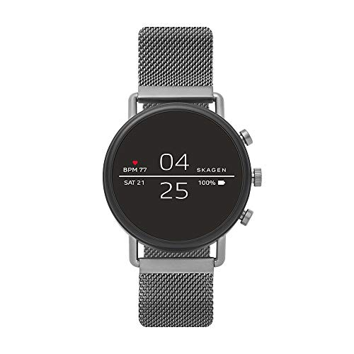 (Skagen Connected Falster 2 Stainless Steel Magnetic Mesh Touchscreen Smartwatch, Color: Gunmetal Grey (Model: SKT5105) )