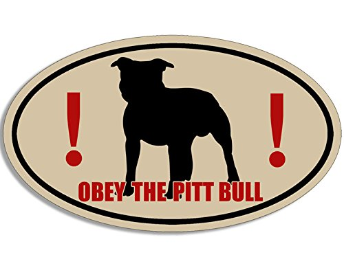 Oval OBEY THE PIT BULL Sticker (funny dog staffordshire terrier) - Obey Pit Bull