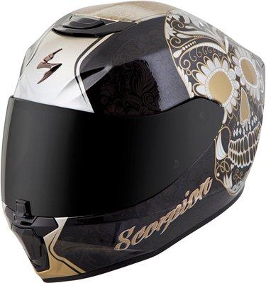 Scorpion Full Systems (Scorpion unisex-adult full-face-helmet-style Sugar skull Helmet (Black/Gold, Small), 1 Pack)